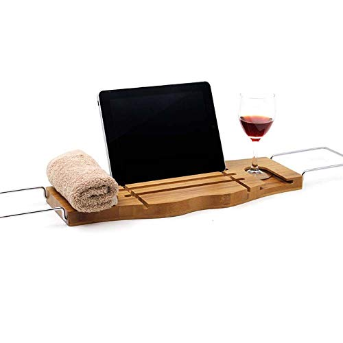 Atten Bambus Badewanne Caddy Tablett mit erstreckenden Seiten, Laptop-Schreibtisch mit Klappfüßen, Handyfach und Weinglas Halter, Seifen Holde -