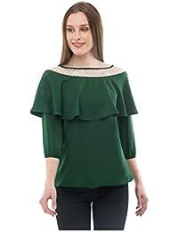 Karmic Vision Women's Crepe Net Green Casual Top