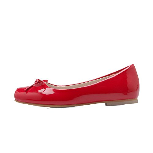 VogueZone009 Donna Tirare Tacco Basso Pelle di Maiale Puro Punta Quedrata Ballet-Flats Rosso