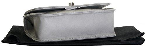 Italienische Leder Classic Design Diamant-Form Gepolsterte Schultertasche Handtasche enthält eine Staubschutztasche Hellgrau