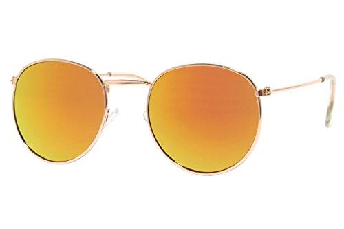 Cheapass Sonnenbrille Rund Verspiegelt Silber Retro Unisex
