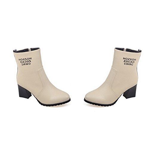 AgooLar Damen Gemischte Farbe Pu Leder Mittler Absatz Reißverschluss Rund Zehe Stiefel Cremefarben