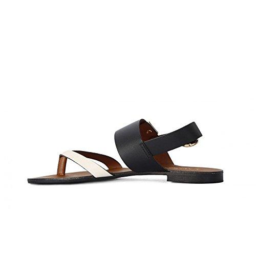 Sandalo infradito Cafè Noir GL102 in vitello Nero