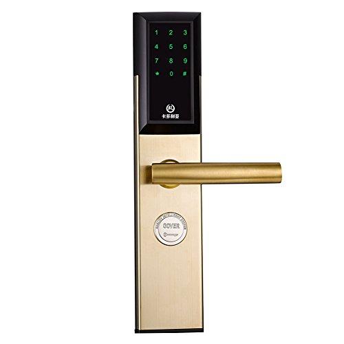 Set Tür Lock Und Knopf Riegel (Fingerabdruck Türschloss Biometrische Bluetooth Smart Keyless Digitale Touchscreen Tastenfeld Mit Knopf Griff Edelstahl-gold)