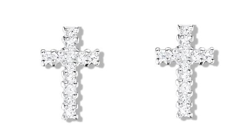 Jo for Girls Sterling Silver and Sparkling Cubic Zirconia Cross Stud Earrings