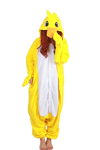 Fandecie Tier Kostüm Tierkostüm Tier Schlafanzug Pyjamas Jumpsuit Kigurumi Ente Damen Herren Erwachsene Cosplay Tier Fasching Karneval Halloween (Gelbe Ente, M:Höhe 160-169cm)