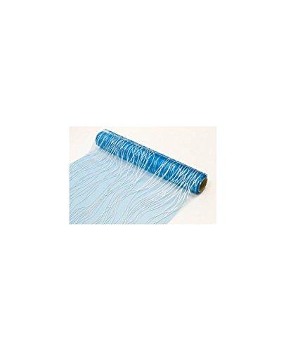 Chemin de table cheveux d\'ange: Bleu turquoise et argent (x1) REF/ORG405-28cm x 5m