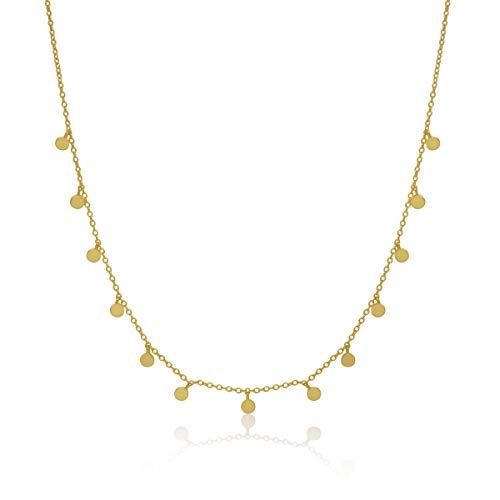 Wanda Silber Halskette Platten für Damen, Sterlingsilber 925 vergoldet, Anhänger rund, Zirkonia, Münzen, Bleche