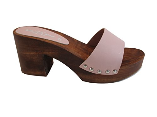 Zoccolo in vero legno -vera pelle-SilferShoes – Made in Italy ... 4181ee1cf94