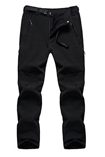 KOUDYEN Ropa Pantalones de Soft Shell para Hombres Impermeables A Prueba de Viento con Fleece para Ciclismo Trekking Senderismo al Aire Libre (negro, XXL)