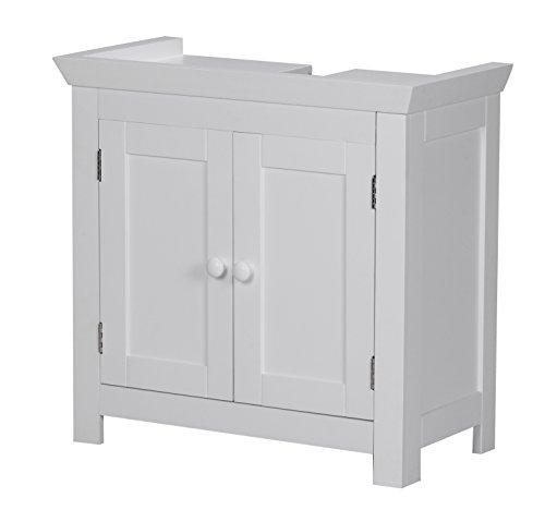 Wohnling Waschbeckenunterschrank Mila Holz, 57 x 30 x 55 cm, Badregal mit Siphonausschnitt, Badezimmer Regal stehend mit 2 Türen,Waschtischunterschrank freistehend, weiß