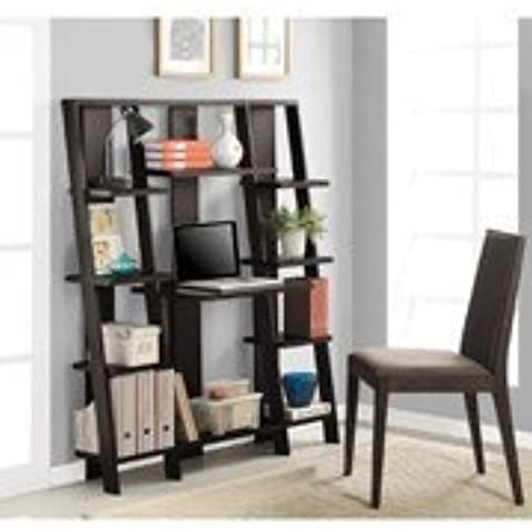 Wooden Bookcase Mutil-levels Ladder /w Desk Espresso Finish Office Home Supplies by Altra Furniture