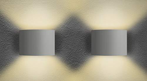 SEBSON LED Wandleuchte Innen halbrund weiß, 220° Abstrahlwinkel einstellbar, warmweiß 3000K 6W 330lm Up Down, Design Bad Wandlampe IP44, 2er Pack -