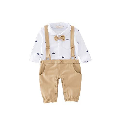 Baby Jungen Bodysuit Tuxedo Gentleman Kurzarm Strampler mit Hosenträger und Bowknot 1pc (Label 70 (6-9 Monate), Khaki(Langarm))