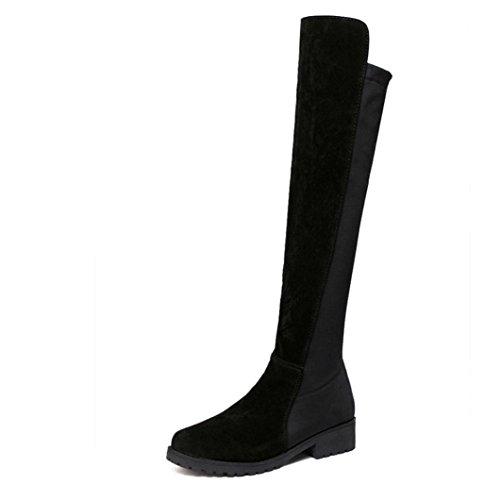 Knie Stiefel Btruely Herbst Winter Schuhe Mode Stylische Damen Gerade Stiefel Knie Dicke Stiefel Warme Stiefel Slouchy flache Ferse Stiefel Schuhe (Schwarz, 36) (Lederstiefel Hohe Ferse)