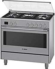 Bosch 90X60 cm Top Gas and Electric Oven Free Standing Cooker, HSB738357M