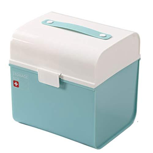 Lxrzls cassetta di medicina domestica cassetta di sicurezza doppia cassetta di pronto soccorso cassetta di sicurezza for prodotti medici cassetta di pronto soccorso in plastica (color : light blue)