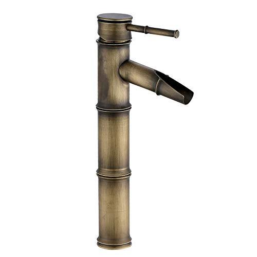 JASNO Einhandbadezimmer Bambusboot füllte Wasserhahn, antikes Messing heißes und kaltes kämpfendes Badezimmerbecken, das den Langen Nasenspray des Hahns schnitzt, der einzelnen Griff wäscht