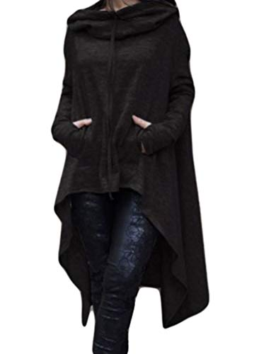Baijiaye Damen Lange Kapuzenpullover Sweatshirt Kleid Langarm Hoodies Asymmetrisch Pullover Pulli Mit Kapuzen Casual Tunika Sweater Oversize Schwarz Oversize-kapuze