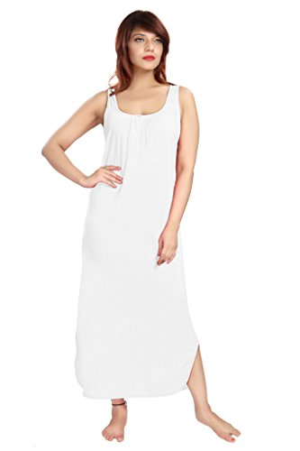 100% Cotton Women's Regular Fit Nighty Gown Slip in White Color With Broad Strapes & Round Neck Night Inner Wear in Size L by City Girl PLUS  available at amazon for Rs.299