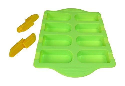 YOKO DESIGN 1277 Backform für Eis am Stiel, Silikon, grün, 23 x 17 x 0,03 cm