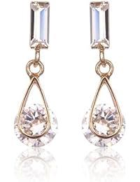 FASHION PLAZA Damen Ohrring Ohrringe kleine Kristall Elemente E317