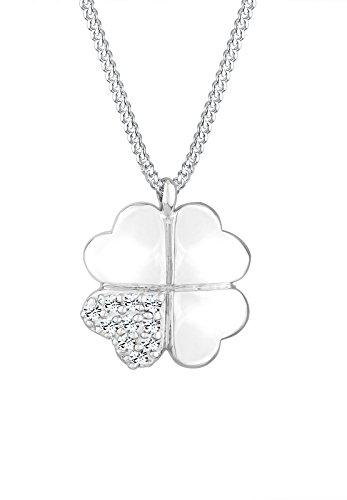 Elli Damen Halskette mit KleeblattAnhänger 925 Sterling Silber mit Swarovski Kristallen 45 cm weiß 0105562013