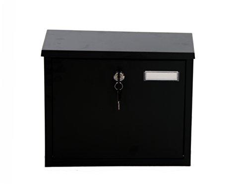 Furnished eingerichtet Stahl Wand Briefkasten Postkasten Mailbox, groß, Schwarz -