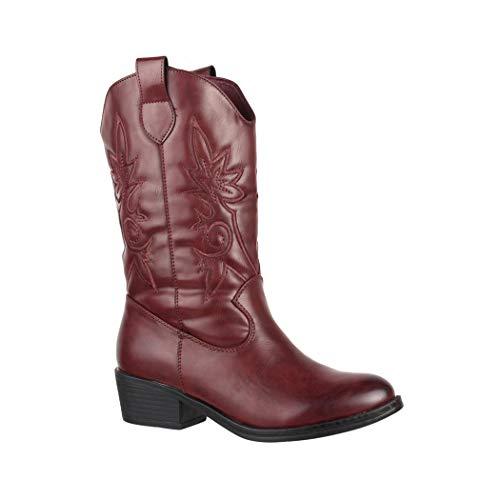 Elara Damen Cowboy Stiefel | Bequeme Lederoptik Stiefeletten | Blockabsatz Zipper | Gefüttert | chunkyrayan 7630-PG Wine-37 -
