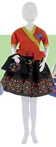 MaRécréation-Dress Your Doll Steffi Folk coser traje muñeca maniquí, aj-0uao-rqky