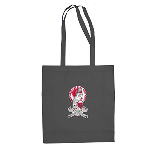 as Muertas - Stofftasche / Beutel, Farbe: grau (Rockabilly Girl Kostüme)