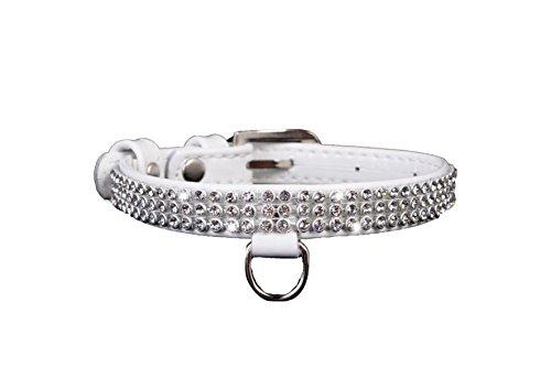 COLLAR Halskette Leder mit Strass glänzend für Hunde Weiß