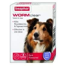 Beaphar Uk WORMclear Dog Up To 40kg 4tab pack of 1