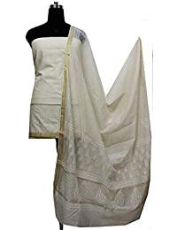 Gleamberry Womens Off-White Block Print Maheshwari Chanderi Dress Material Set