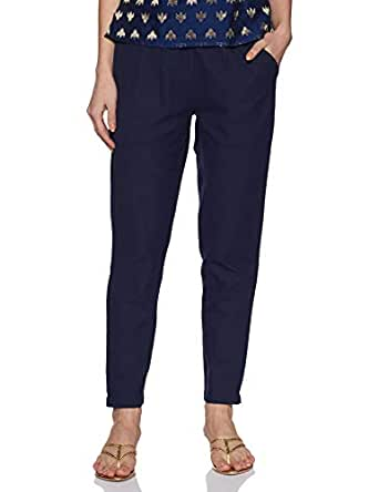 Jaipur Kurti Women's Solid Regular Trouser (JKPAT007-S_Royal Blue)