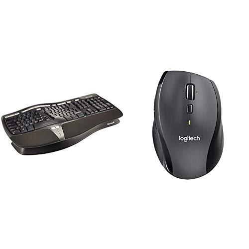 Microsoft Natural Ergnomic Keyboard 4000 (Deutsch), USB-Anschluss (Verpackung für Unternehmen) & Logitech Marathon M705 - kabellose Maus einfarbig