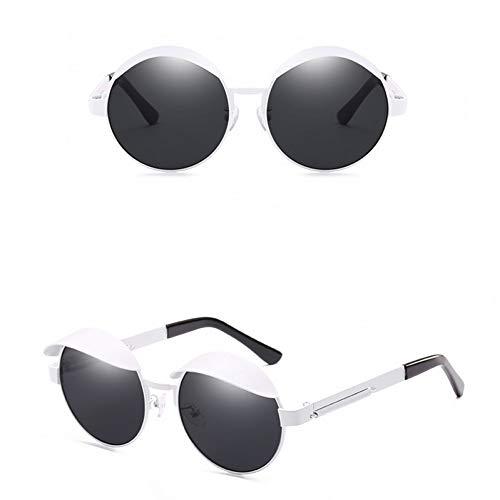 Chudanba Steampunk Sonnenbrille Frauen Männer Runde Brille Männer Seitenvisier Kreis Objektiv Punk Sonnenbrille,Weiß grau