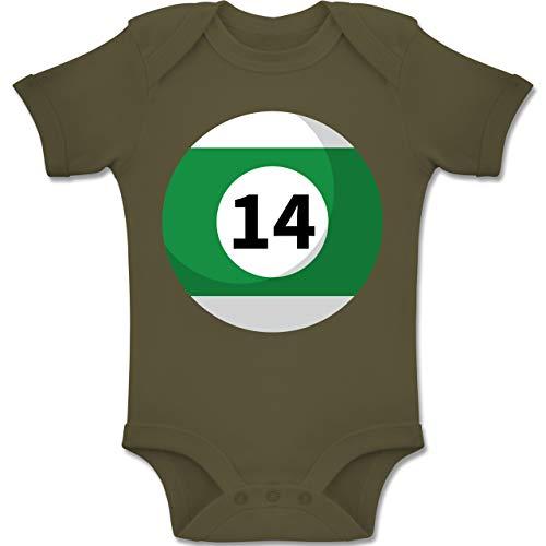 Shirtracer Karneval und Fasching Baby - Billardkugel 14 Kostüm - 6-12 Monate - Olivgrün - BZ10 - Baby Body Kurzarm Jungen (80 Die Gruppe Kostüm Idee)