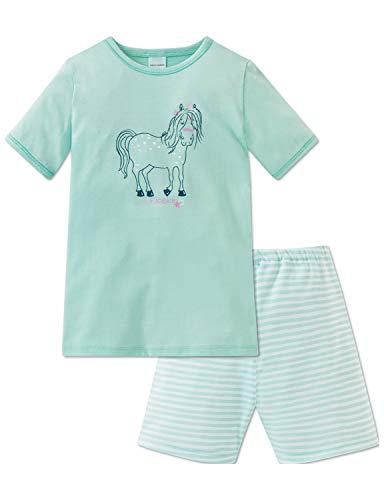 Schiesser Mädchen Ponyhof Md Anzug kurz Zweiteiliger Schlafanzug, Grün (Mint 708), 92 (Herstellergröße: 092)