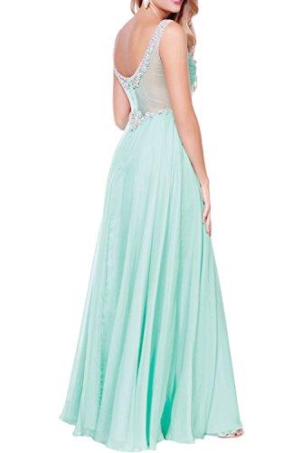 Promgirl House Damen Romantisch Traeger A-Linie Chiffon Tuell Lang Abendkleider Brautjungfernkleider Ballkleider Mintgrün