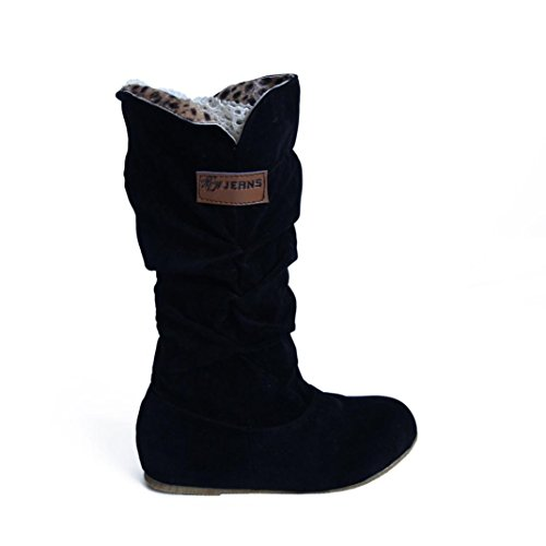 Knie Hohe Cowboy-stiefel (Falten Stil Knie Hoch Stiefel HARRYSTORE Damen Wohnung Hacke Motorrad Winter Schuhe (EU:39, Schwarz))