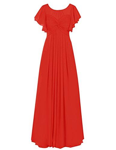 Dresstells Robe de demoiselle d'honneur Robe de cérémonie en mousseline forme empire longueur ras du sol Rouge
