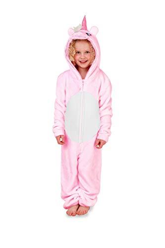 (Kids Size - Age 7-8 Years, Pink Unicorn) - Loungeable Kids Fleece Christmas Onesies Or Robe