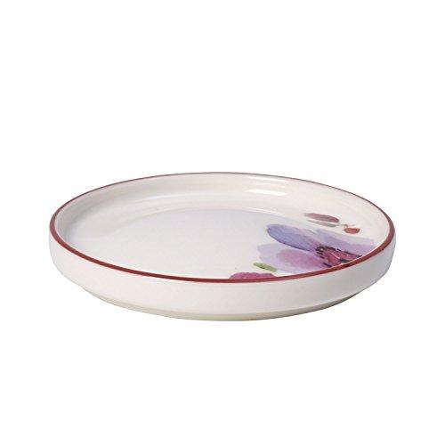 Villeroy & Boch Mariefleur Tea Teebeutel-Ablage, Geschirr aus Hochwertigem Premium in Pink und Grün und Orange, 9 cm Tteebeutel, Porzellan, Weiß, 12 x 12 x 3 cm