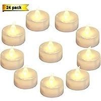 Homemory Lot de 24 Lumières Bougies à LED de Thé à Piles Sans Flamme Blanc