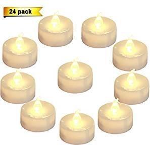Homemory - lumini da tè a led a batteria, candele senza fiamma con luce bianca calda tremolante, diametro 3,6cm, finta candela elettrica per candele votive, matrimoni, feste, da tavolo, da sala da pranzo, regalo (confezione da 24)