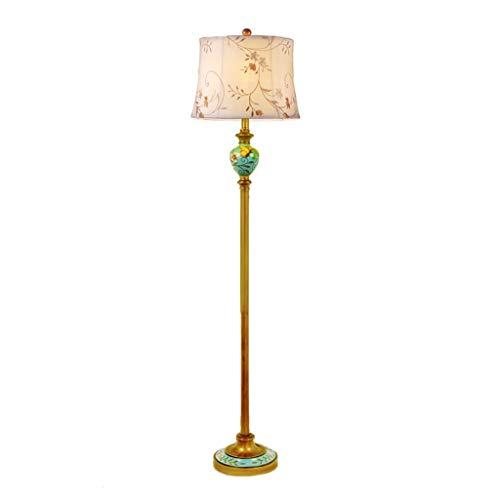 Antike Messing Stehlampe (YKKFC Stehlampe, Antike Messing Stehlampe für Wohnzimmer Moderne Metall Stehlampen E27 Büro Hotelzimmer Vertikale Nachttischlampe)