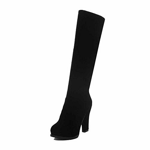 AgooLar Damen Rein Wasserdicht Plattform Reißverschluss Hoher Absatz Stiefel Schwarz
