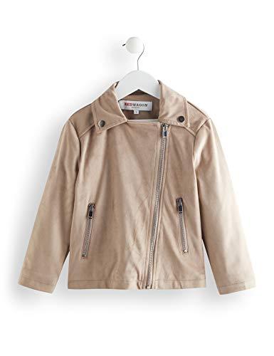 RED WAGON Mädchen Suedette Biker Jacket Mantel (Beige), 128 (Herstellergröße:8)