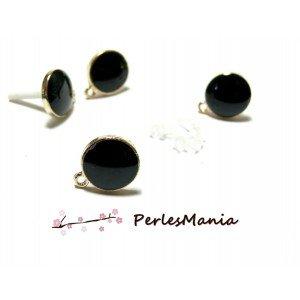 perlesmania.com Pax 10 Ohrstecker, Emaille-Stil, rund, Schwarz, mit goldfarbener Befestigung und Aufsätzen PS11102714
